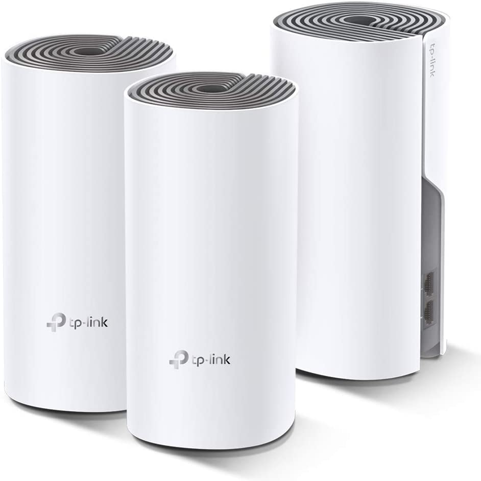 Renewed Seamless and Speedy Pack of 3 TP-Link Deco E4 Whole Home Mesh Wi-Fi System Work with  Echo//Alexa Parent Control Router and WiFi Booster Replacement AC1200 for Large Home