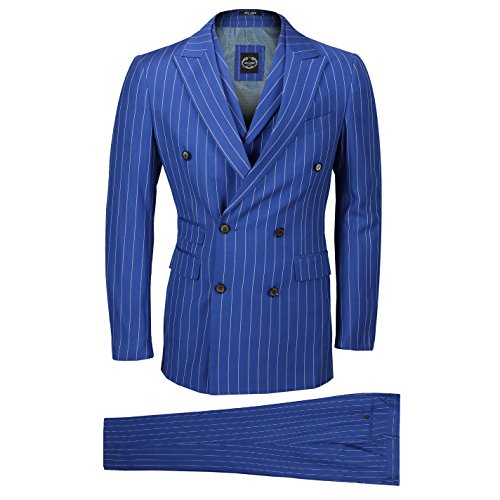 (Mens 3 Piece Double Breasted Wide Chalk Pin Stripe Suit Royal Blue Classic Retro Tailored Fit [Chest UK 38 EU 48,Trouser 32
