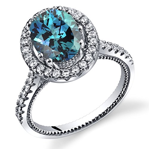 Simulated Alexandrite Halo Milgrain Ring Sterling Silver 2 50