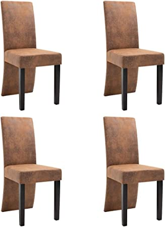 chaise salle a mange classique daim marron