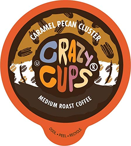 Crazy Cups Flavored Coffee, for the Keurig K Cups 2.0 Brewers, Caramel Pecan Cluster, 22 - Caramel Cups Chocolate