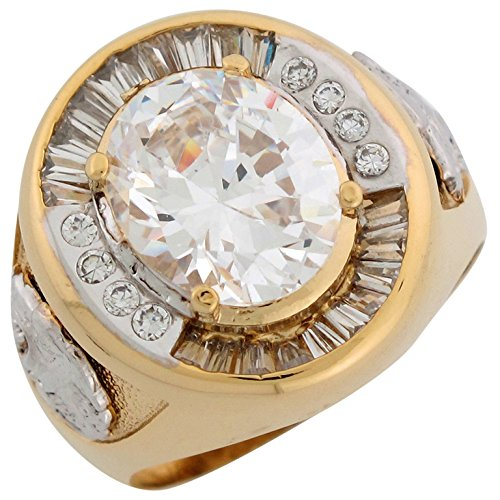 Jewelry Liquidation 10k Two Tone Solid Gold White CZ Lion Head Accents Handsome Mens Ring