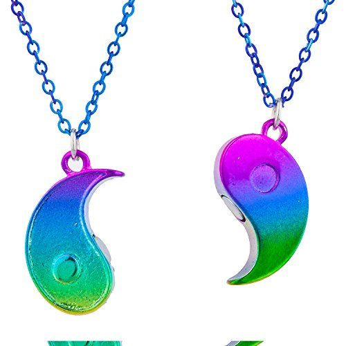 (Lux Accessories Yin Yang BFF AB Oil Slick Rainbow Pendant Necklace Set)