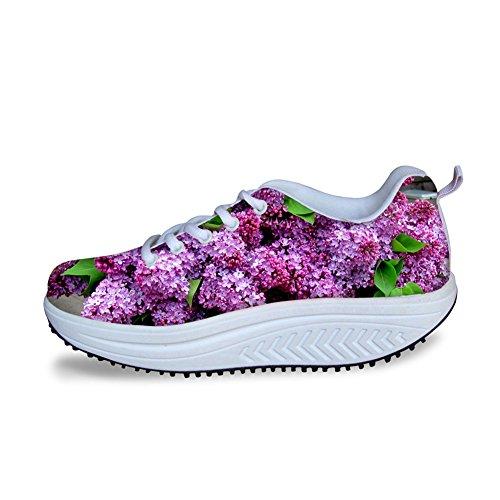 Câlins Idée Élégante Fleur Rose Impression Plate-forme De Femmes De Marche Sneaker Flowe13