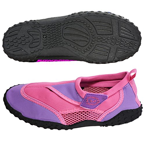Nalu 29 Wetsuit Surf Trim Pink Shoes EU with Beach Kids Lilac Velcro UK Aqua 11 rqBrv