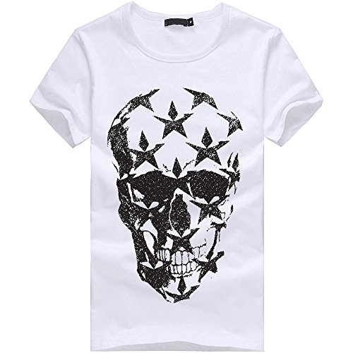 Mens Mysterious Surprise Printing Tees Shirt Short Sleeve T Shirt Blouse Vest White