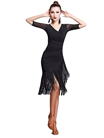 c494ddfe0a2f4 TALENT PRO Latin Rhythm Ballroom Carmen Fringe Tango Dance Dress (X-Large)