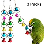 Uheng 3Pack Parrot Toy Activitoys Bells Bird Toy Colorful Chewing Hanging Cage Bite for Macaws African Greys Eclectus Cockatoo Parakeet Cockatiel Conure Lovebird, 10inch