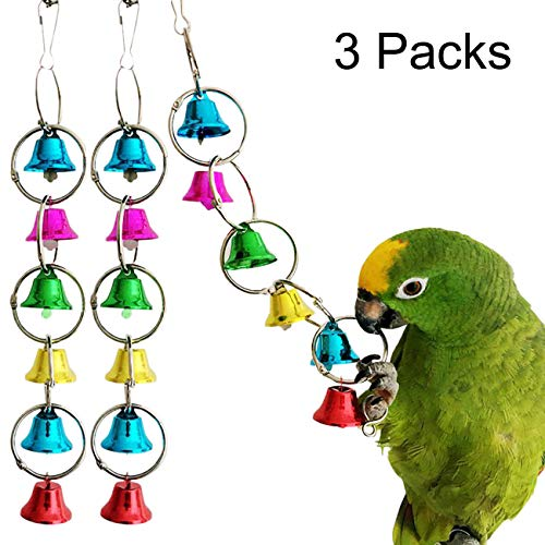 Uheng 3Pack Parrot Toy Activitoys Bells Bird Toy Colorful Chewing Hanging Cage Bite for Macaws African Greys Eclectus Cockatoo Parakeet Cockatiel Conure Lovebird, 10inch ()