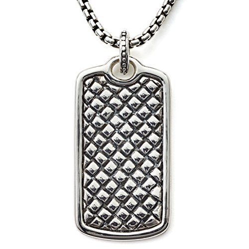 Scott Kay Sterling Silver Classic Equestrian Dog Tag Necklace with 26 Inch Sterling Silver Box Chain