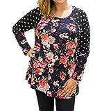 Plus Size Tops,Goddessvan Fashion Women O-Neck Long Sleeve Floral Print Casual Shirt Blouse (3XL, Black)