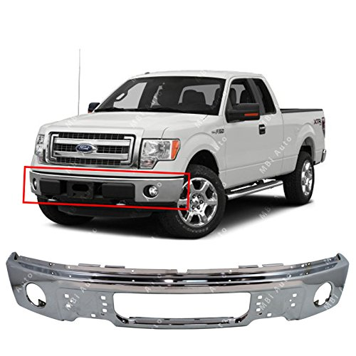 (MBI AUTO - Chrome, Steel Front Bumper Face Bar Fascia for 2009 2010 2011 2012 2013 2014 Ford F150 Pickup W/Fog Light Holes 09-14, FO1002411)