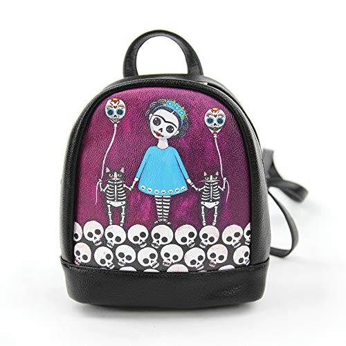 Teal Dress Skeleton Girl with Balloon Cats Mini Backpack -