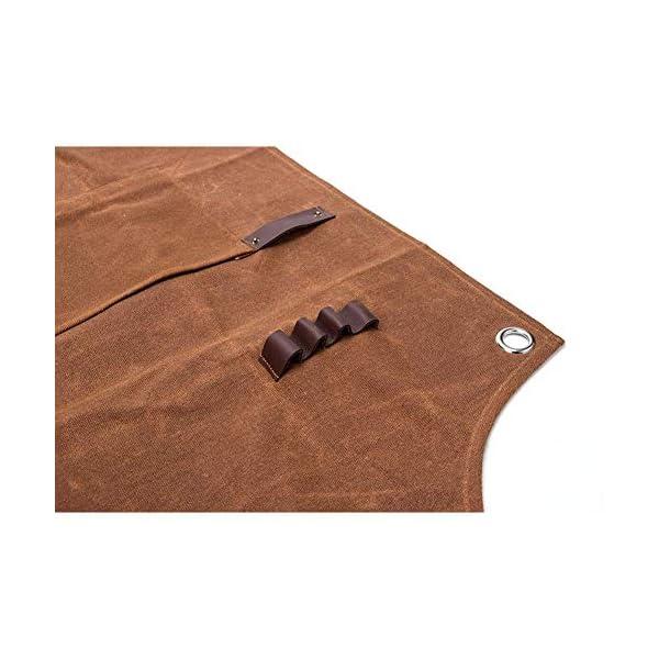 Delantal de trabajo de lona encerada, resistente al agua, resistente al aceite, con bolsillos para herramientas, ranuras para ingenieros, carpintería, carpintería, manualidades, pintura