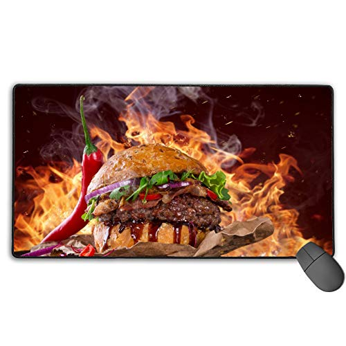 Pad Super Mouse Hot (Gaming Mouse Pad Large Nonslip Rubber Base Hamburger Super Hot Foldable Mat Keyboard)
