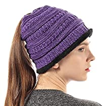 FLY HAWK Women Knit Beanie Hat Soft Warm Liner Winter Messy High Ponytail Skull Cap