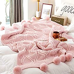 "Chenille Plush Throw Blanket, Luxurious Lovely Lounge Cover Knitted Blanket with Handmade Pom Poms for Sofa/Bed/Couch/Living Room/Office(51.18""×59.05"", Pink)"