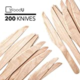 """Disposable Wooden Knives, 6.5"""" in Length Length, Eco-friendly Biodegradable, Compostable Birchwood (Pack of 200) GO GREEN!"""