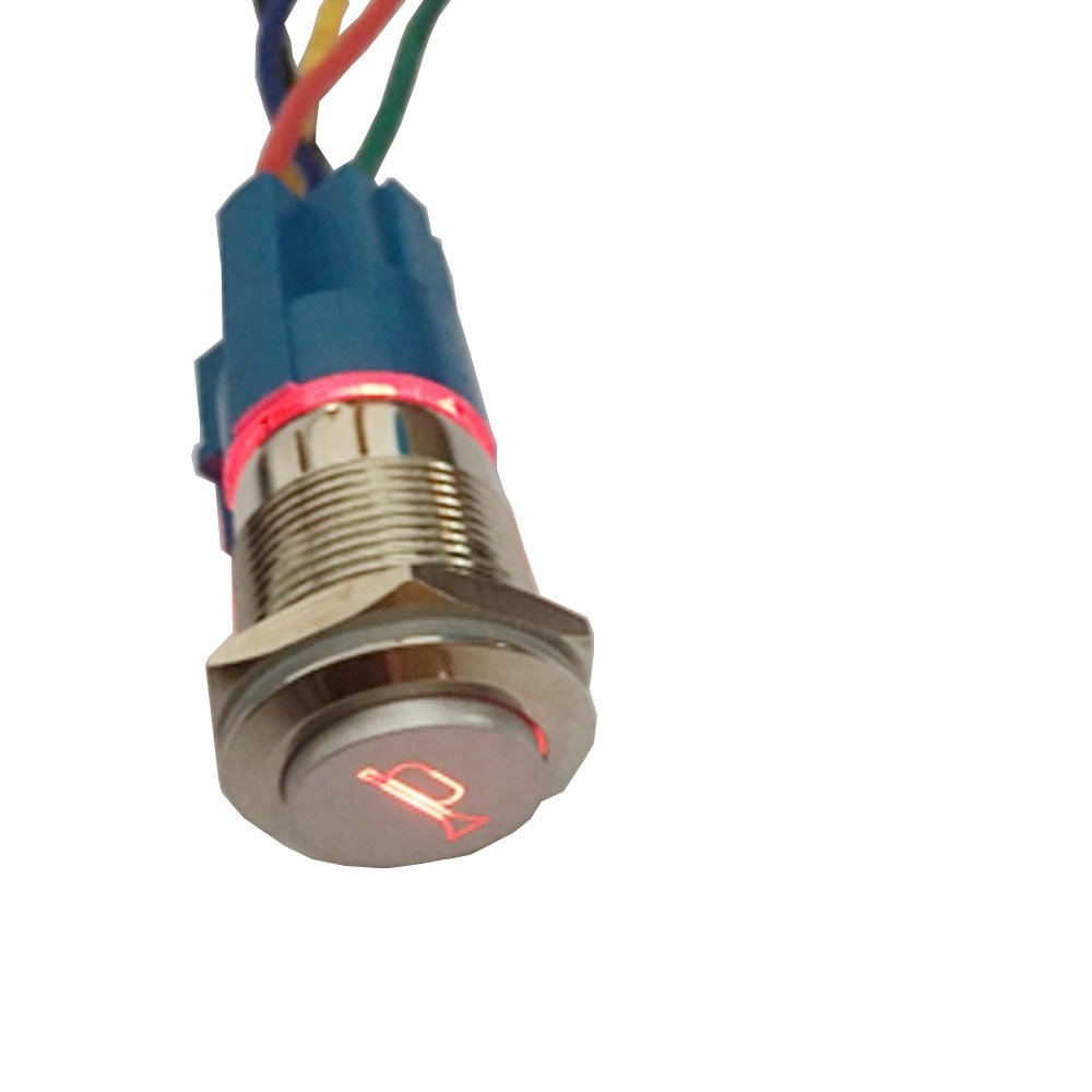 ESUPPORT 12V Car Auto Green LED Light Momentary Speaker Horn Push Button Metal Toggle Switch 19mm Socket Plug