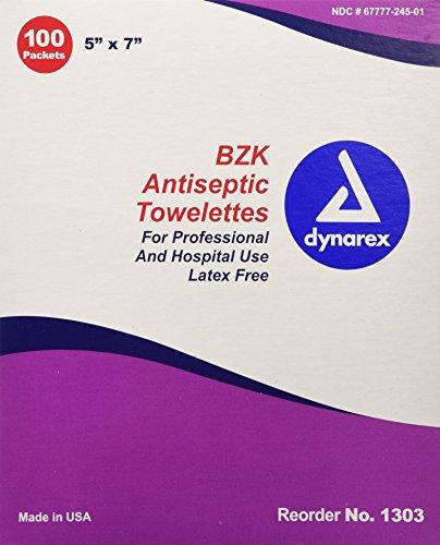 Bzk Antiseptic (Dynarex BZK Antiseptic Towelette, 100 Count (Pack of 10))