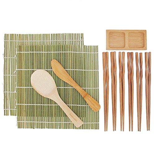 BambooMN Sushi Maker Kit 2x Green Bamboo Rolling Mats, 1x Rice Paddle, 1x Spreader, 1x Compartment Sauce Dish + 6 Prs (Sushi Starter Kit)
