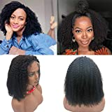 14 inch Mongolian Afro Kinky Curly Human Hair 13×4 Lace Frontal Wig 150% Density With Baby Hair Mongolian Short Human Hair Wigs Natural Line For Black Woman (14inch, natural)