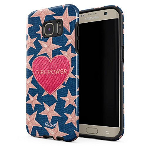 Glitbit Samsung Galaxy S7 Edge Case Gril Power Girl Gang Boss Crybaby Feminist Feminism Patches Embroidered Heart Emoji Heavy Duty Shockproof Dual Layer Hard Shell + Silicone Protective Cover