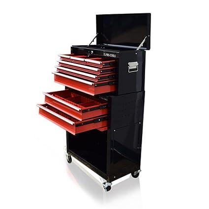Carro de herramientas US PRO TOOLS con cajones separados y ruedas, color rojo y negro