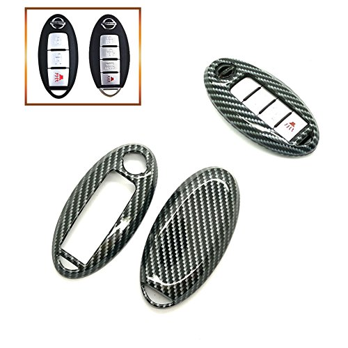- Smart Remote Key Fob Case Cover Shell 3 4 5 Buttons Gloss/Fros Metallic Painted PlasticKey Cover For NISSAN (Carbon Gloss Fiber)