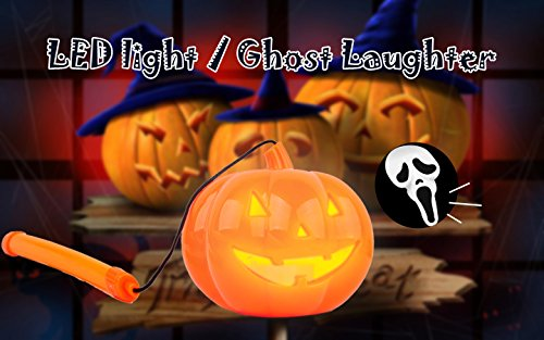 Halloween Decorations Plastic Electric Pumpkin Lamp Pumpkin Lantern with LED Light and Ghost Laughter Portable Jack-O-Lantern With Handle Halloween Toys for Kids