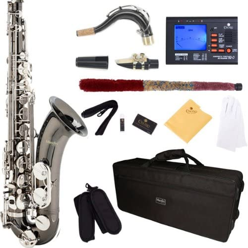 B005CDVY82 Mendini by Cecilio MTS-BNN+92D Black Nickel Plated and Nickel Plated Keys B Flat Tenor Saxophone with Tuner, Case, Mouthpiece, 10 Reeds and More 51wIvyReREL