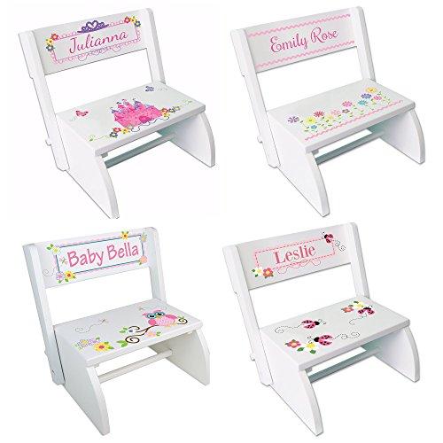 Personalized White Girls Folding Stool product image