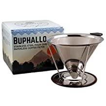 Buphallo Stainless Steel Pour Over Cone Coffee Dripper – Reusable Permanent Paperless Filter with Removable Stand – Clever Innovative Filter for Chemex, Hario, Carafes