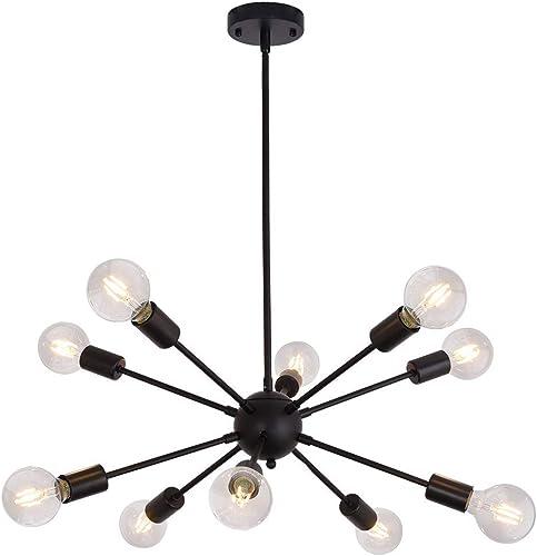 Sputnik Chandelier 10 Light Ceiling Lamp Black Modern Pendant Lighting Industrial Vintage Ceiling Light Fixture
