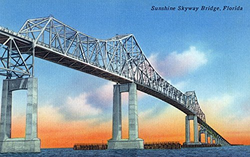 Florida - View of Sunshine Skyway Bridge (24x36 Collectible Giclee Gallery Print, Wall Decor Travel Poster) (Sunshine Skyway Bridge)