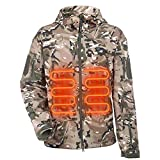 ITIEBO Men's Heated Jacket Electric Battery Pack Soft Shell Waterproof Winter Warm Polyester Fleece Heated Hoodie Ski Snow Sportswear Hiking Climbing Heating Clothes (Camouflage, XL)