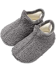 L-RUN Baby Boys Girls Wool Like House Slippers Kids Light Weight Anti-Skid Shoes for Outdoor Indoor Comfy Loafers