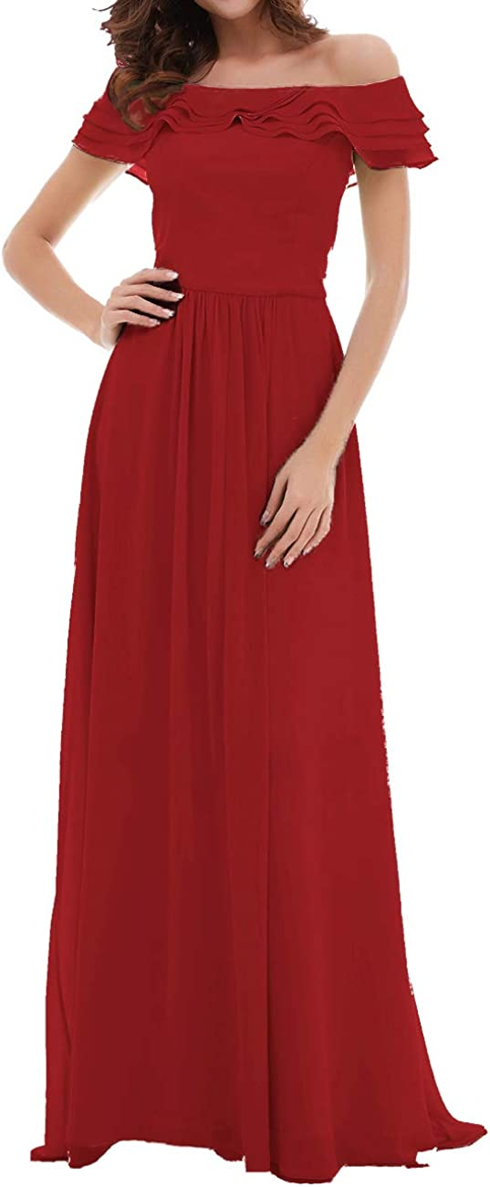 Uther Long Bridesmaid Wedding Party Dress Chiffon Prom Dresses Off The Shoulder A-Line
