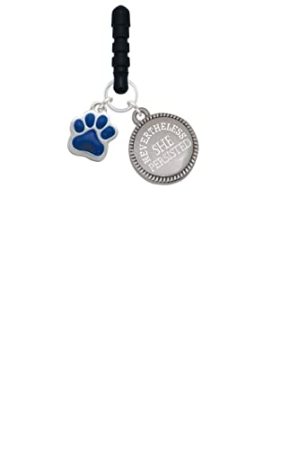 Small Royal Blue Paw Nevertheless She Persisted Phone Charm