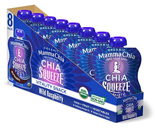 (Mamma Chia Organic Vitality Squeeze Snack, Wild Raspberry, 8 Count (Pack of 2))