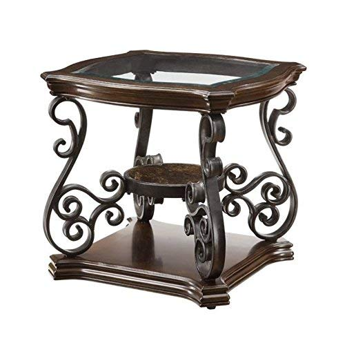 Coaster Home Furnishings End Table with Tempered Glass Top, Dark Brown