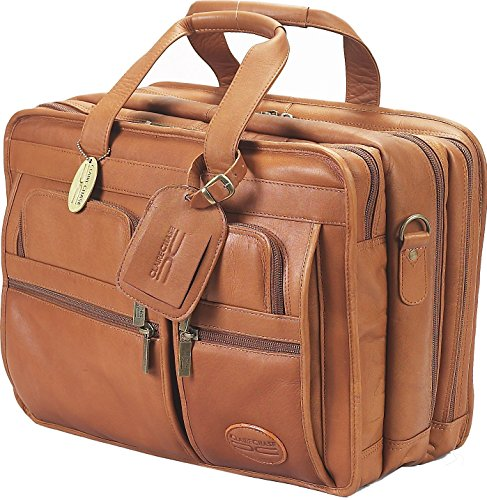 Claire Chase Executive Leather Laptop Briefcase X-wide, Computer Bag in Saddle ()