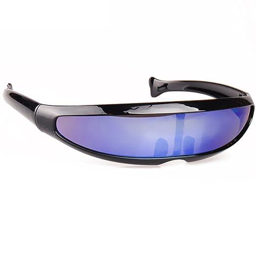 3e6222a1868ac Futuristic Cyclops Monoblock Shield Mirrored Sunglasses UV400 Night Vision ( Black