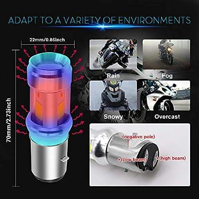 BA20D LED Motorcycle Headlight Bulb 3 COB+3528 LEDs 15Watts High Low Beam H6 LED Motorbike Headlamp Super Bright 2500Lumens Double Colors Blue & Xenon White.(1-Pack). (BA20D-3COB-3528): Automotive