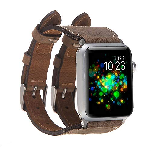 Hardiston Leather Band Compatible with Apple Watch | Handmade Genuine Leather Replacement Strap for iWatch Series 4 (40mm) / Series 3 Series 2 Series 1 (38mm) | Double Buckle | Antic Brown