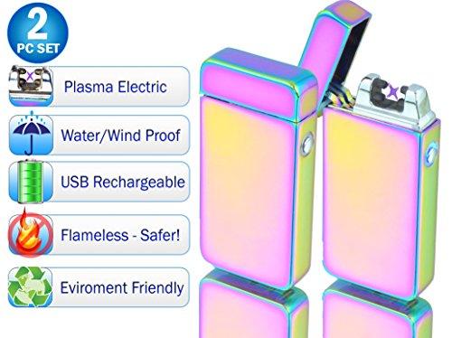Tac Plasma Lighter Dual Arc Tactical Beam Torch USB Rechargeable, Lithium Ion Battery, Electric Windproof Splashproof Flameless, Butane Free - New Technology - Metal - Seen on TV (2pc, Gun Metal)