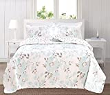 Great Bay Home 3-Piece Reversible Quilt Set with Shams. All-Season Bedspread with Floral Printed Pattern in Bright Colors. Helene Collection By Brand. (Twin, Blue)