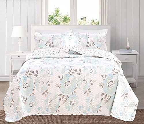 - Great Bay Home 3-Piece Reversible Quilt Set with Shams. All-Season Bedspread with Floral Printed Pattern in Bright Colors. Helene Collection Brand. (Full/Queen, Blue)