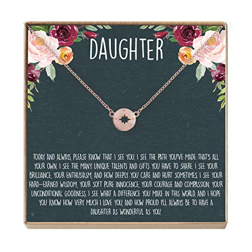 Daughter Necklace - Heartfelt Card & Jewelry Gift for Birthday, Holiday & More (Compass Rose Gold)