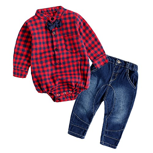 Baby Boy Outfit, Toddler Clothing Set Children Jeans + Romper Shirt with Bow Tie Red 80(6-12 Month) (Superheroes Outfit)